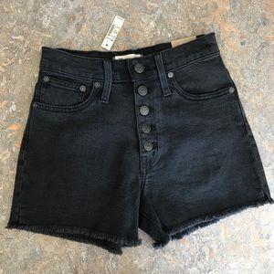 NWT Madewell High Rise Denim Shorts Faded Black